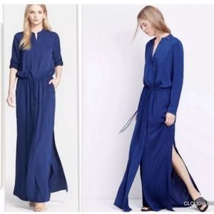 Vince Maxi Dress Dark Indigo Hidden Button Down